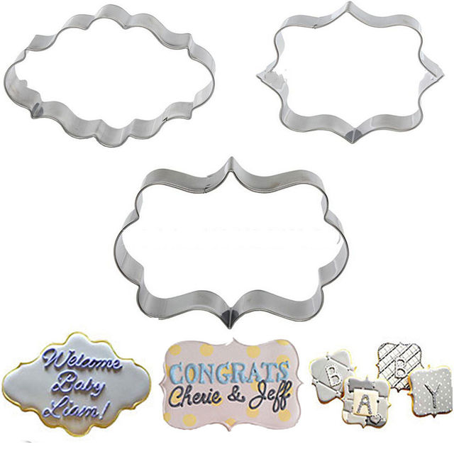 New 3x Cookies Pastry Fondant Cake Sugarcraft Decorating Mold Frame Cutter Tool
