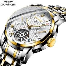2019 GUANQIN Watch men Automatic clock men swimming Mechanical men watch top brand luxury waterproof Tourbillon style erkek saat