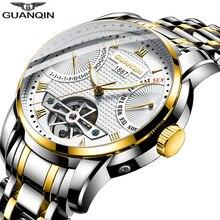 Мужские автоматические часы GUANQIN 2019, мужские механические часы для плавания, роскошные брендовые водонепроницаемые часы в стиле турбийона erkek saat