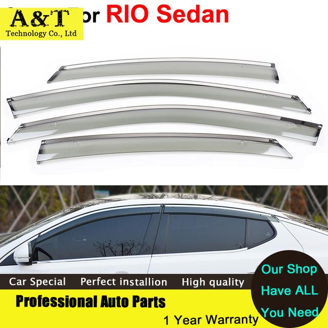 AKD Abrigos Toldo Ventilação Chuva Sol Escudo viseira do Windows car styling Viseiras da janela Para K2 RIO Sedan 2012 2013 2014 Capas de Carro-