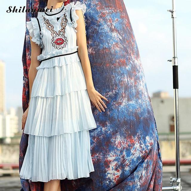 1913bda9bd 2018 Women Summer Dress light blue Chiffon Pleated Long Dress vintage  elegant embroidered lip pattern vestido de festa Robe