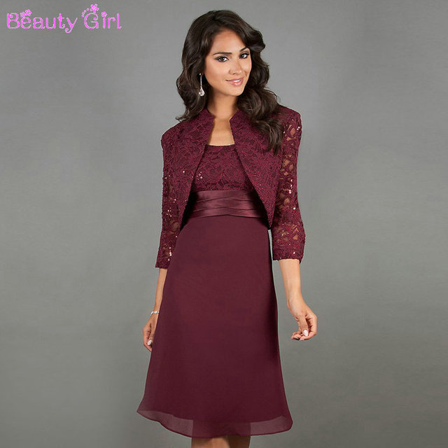 Burgundy Knee Length Mother Of The Bride Dresses With