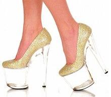gold crystal single shoes super-elevation 20cm shallow mouth shoes 8 inch crystal platform high heel women's pumps
