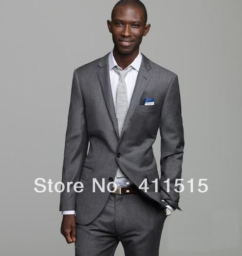 FREE Shipping/ Custom Made Cheap Gray Tuxedo/Notch Lapel Groom Tuxedos Groomsmen Men Wedding Wear Dress Suits For Men Wedding