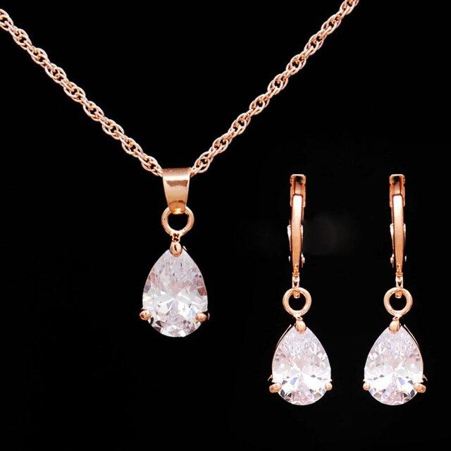 סטי תכשיטי קריסטל נשים חתונת CZ אופנה חדשה צבע זהב טיפת המים עגילי שרשרת תכשיטי חרוזים אפריקאים סטי Bijoux