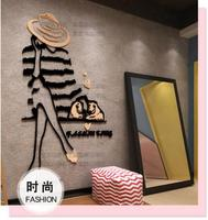 DIY 3D non-toxic acrylic Fashion girl wall sticker clothing store wall decoration stickers home decor