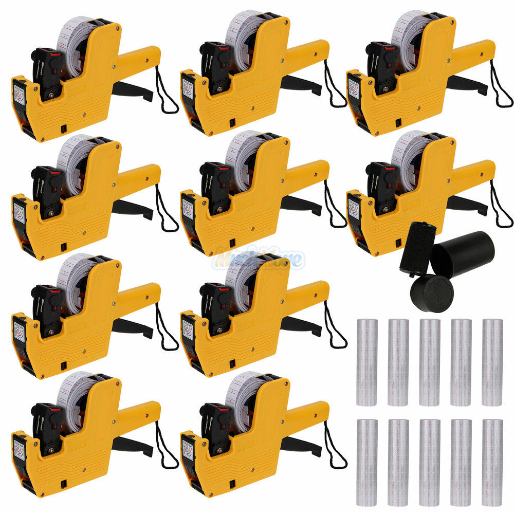 [ Fly Eagle ]10Pcs Yellow MX 5500 8 Digits Price Tag Gun with 10 Rolls 5000 White w/ Red lines labels + 10x Ink