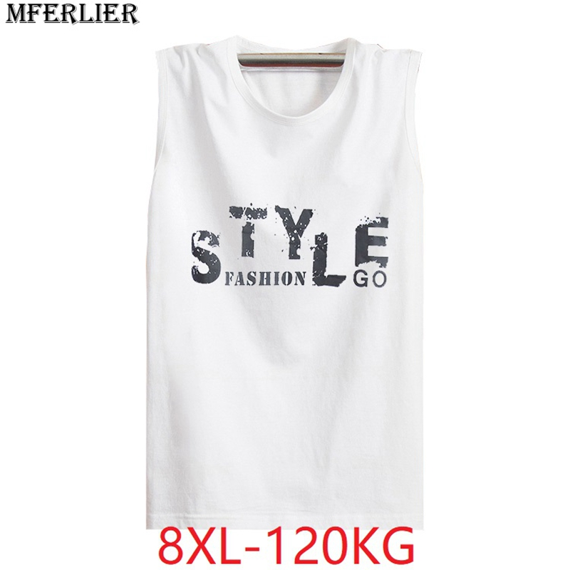 MFERLIER plus size 5XL Men summer 6XL   tank     tops   8XL letter sleeveless 7XL cheap loose cotton basket ball   tops   Fitness