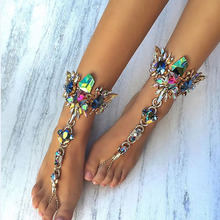 2017 Wholesale 6 Colors Fashion Anklet For Sandals Beach  Jewelry  Chain Anklet Female Boho Crystal Bracelet Maxi Sexy Leg Chain