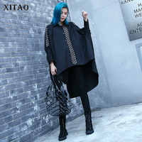 [XITAO] Europe Street New 2018 Autumn Women Metal Ring Decoration Batwing Sleeve Shirt Female Full Sleeve Loose Blouse LJT3535