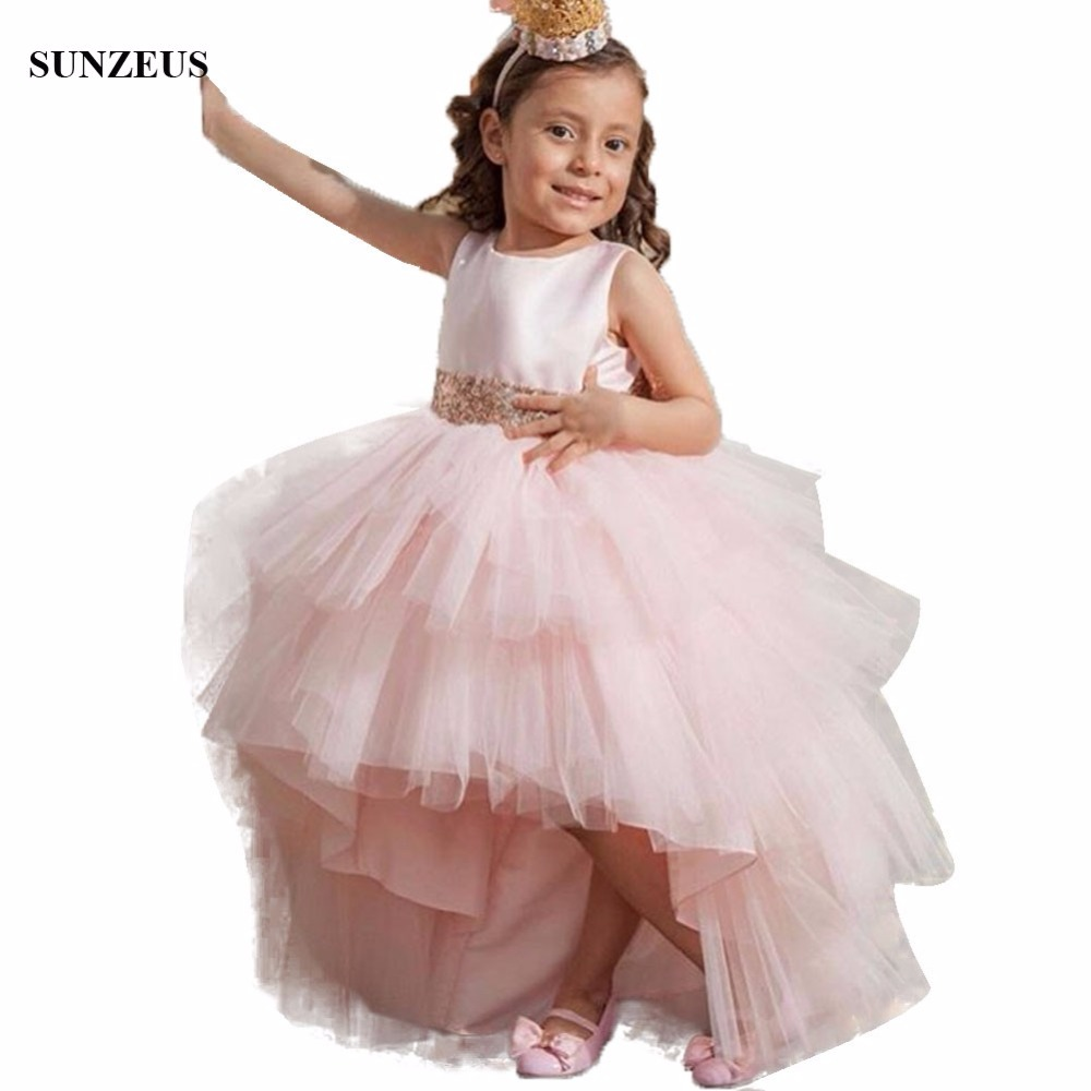 Pale Pink High Low Ruffles Tulle   Flower     Girl     Dress   2018 New Party Gowns Short Front Long Back Children   Dress   With Sequins FLG020