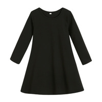 Casual Cotton Solid A Line Dress For Girl Long Sleeve Dress Children Dresss 8 18years