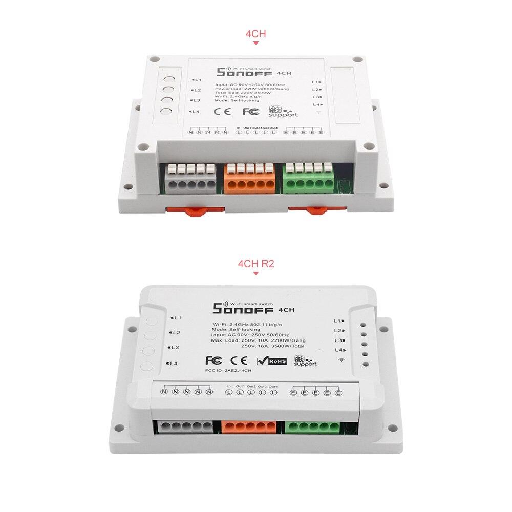 5pcs Sonoff 4CH Wifi Light Switch 4Gang 3 Working Modes Inching Interlock Wifi Switch Smart Home