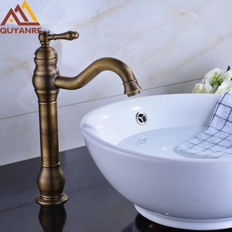 Retro Style Basin Faucet Deck Mount Single Handle Bathroom Sink Mixer Taps Antique Brass стоимость