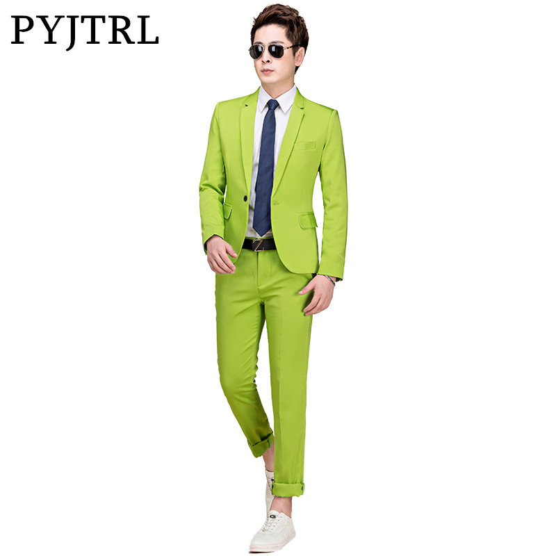 PYJTRL M-5XL Tide Men Colorful Fashion Wedding Suits Plus Size Yellow Pink Green Blue Purple Suits Jacket And Pants Tuxedos