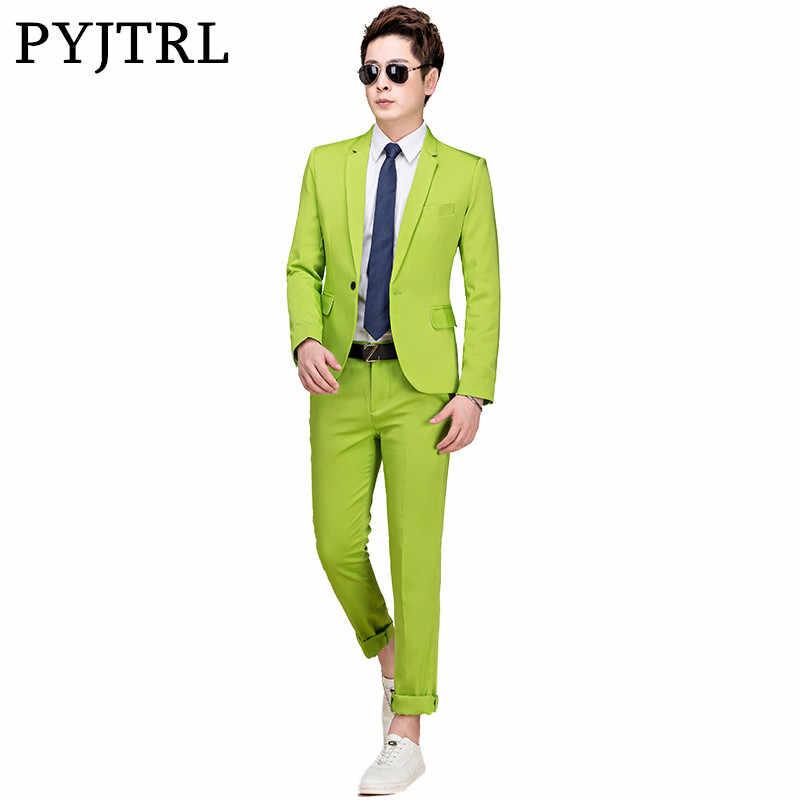 PYJTRL M-5XL marea hombres coloridos trajes de boda de moda más tamaño amarillo Rosa verde azul púrpura trajes chaqueta y pantalones esmoquin