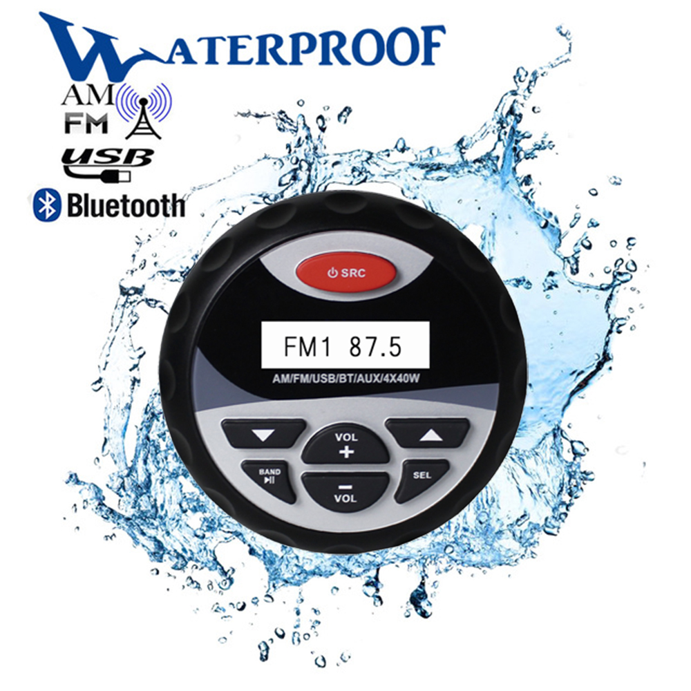 Marine Waterproof Bluetooth Stereo Radio Audio FM AM Receiver Car MP3 Player USB Sound System For Motorcycle Boat SPA UTV ATV
