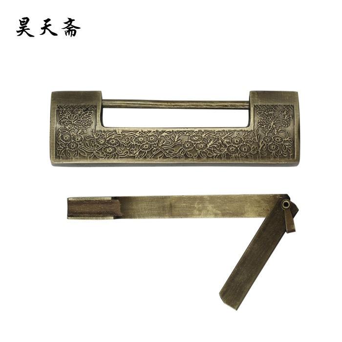 [Haotian vegetarian] Chinese antique brass lock padlock carved wooden doors Tongsuo 12CM HTH-008 замок дверной механический taiwan even better thailand brass padlock me2230