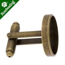 Запонка для манжет с 18 мм Круглый безель, глубина ободка около 2 мм, латунь заполнена, античная бронза закончена, продается 10 шт/lot-C3579