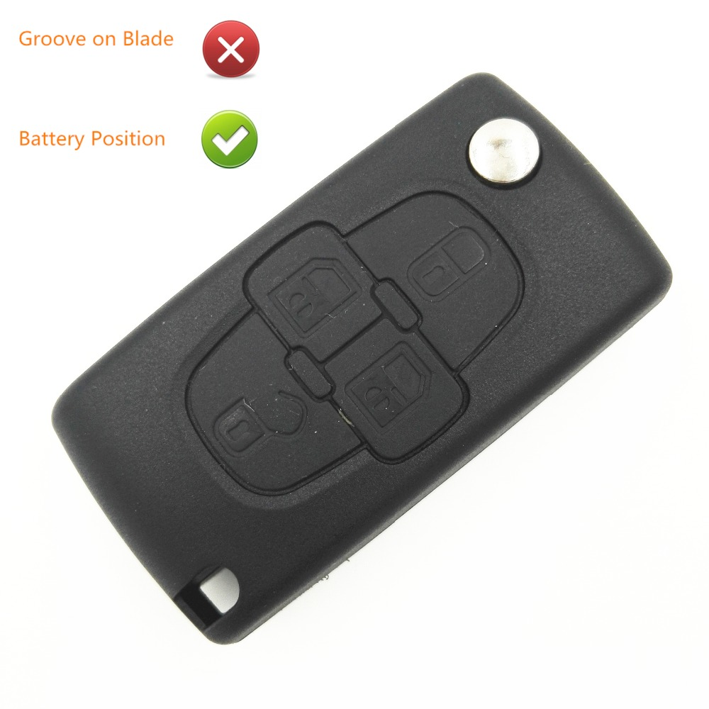 Uncut 4 Buttons Replacement Flip Car Blank Key with Battery Place No Groove on Blade For Citroen C8 New CE0523 Key Shell image