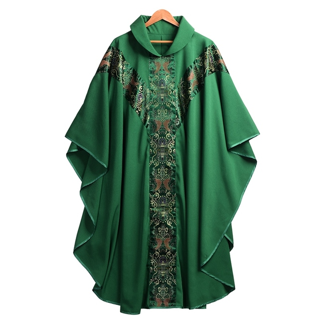 Priest Catholic Church Robe Archbishop Clergy Vestments with Stole Pope Chasuble Costume