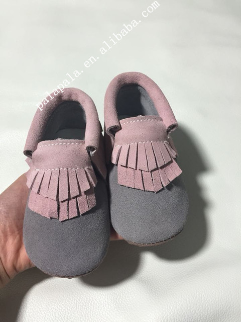 New Double tassel suede Genuine Leather Baby Moccasins Soft Mocc Baby Shoes Newborn first walker Anti-slip Infant Shoes
