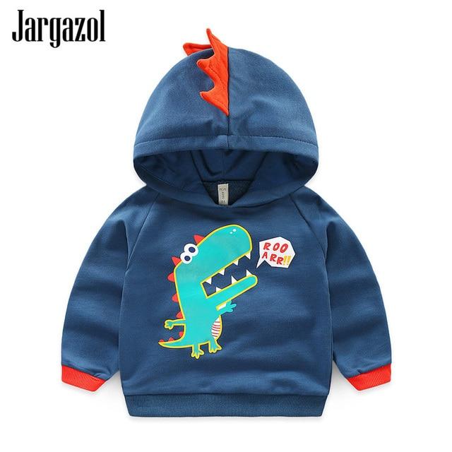 Jargazol Sweatshirt voor Jongen Kids Baby Boy Hoodies voor Meisjes Dinosaurus Walvis Borduurwerk Herfst 2018 Fashion Korea Kleine Maven