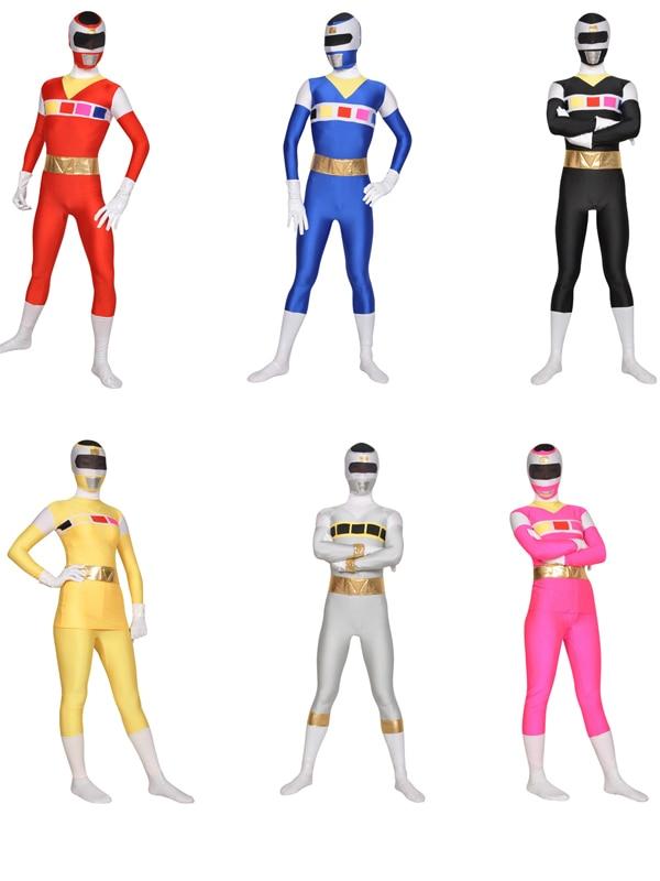 Denji Sentai Megaranger Costumes Lycra Spandex Cosplay Zentai Halloween Rangers Red Black Blue Pink Yellow Silver
