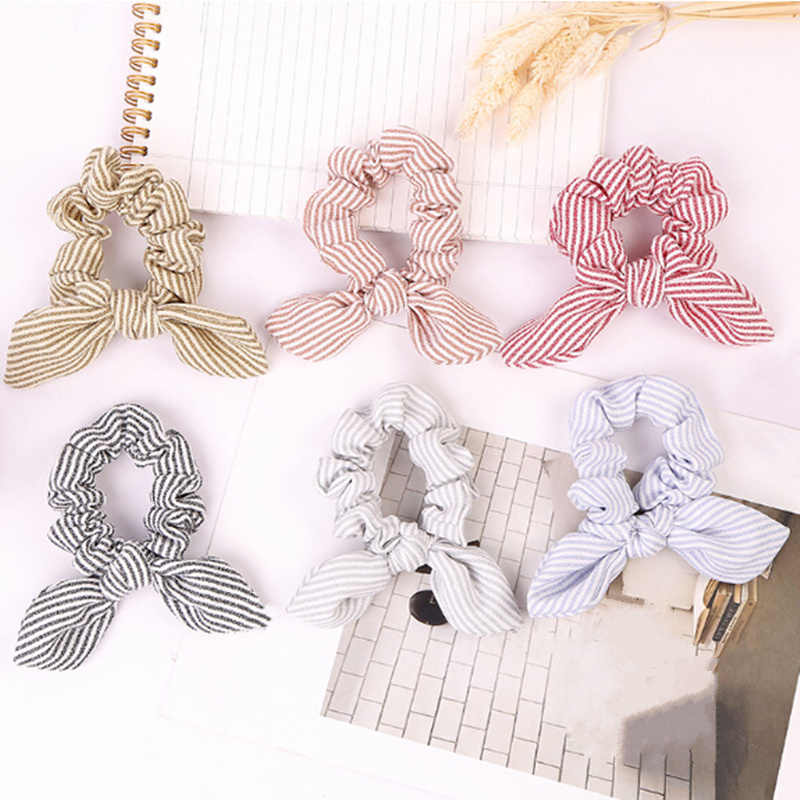 1PC Women Summer Stripe Hairbands Scrunchie Hair Rope Tie Hair Ribbons Ponytail Maker Braider Headbands Accessories