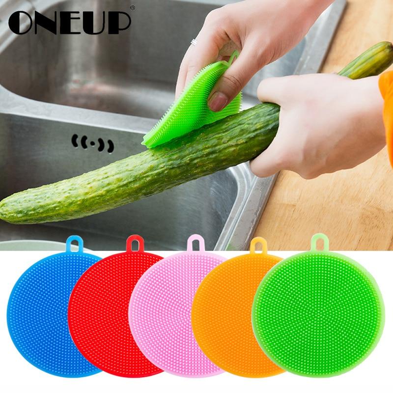 ONEUP Multifunction Silicone Dish Bowl Scouring Pad Magic Wash Brushes Kitchen Pot Cleaning Washing Tool Kitchen Cleaning Brush