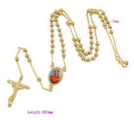 Gussiarro mode chaude couleur or jaune unisexe chapelet prier perle béni jésus/Maria croix collier 23
