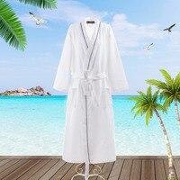 100% Pure Cotton Bathrobel Waffle Men Kimono Men's Robe Long Thin Unisex Pajamas Sauna Clothes Sleepwear Water Absorption White