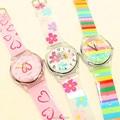 Luxury brand women man fashion&casual rainbow color wristwatches children heart flower waterproof watches Xmas gift watch