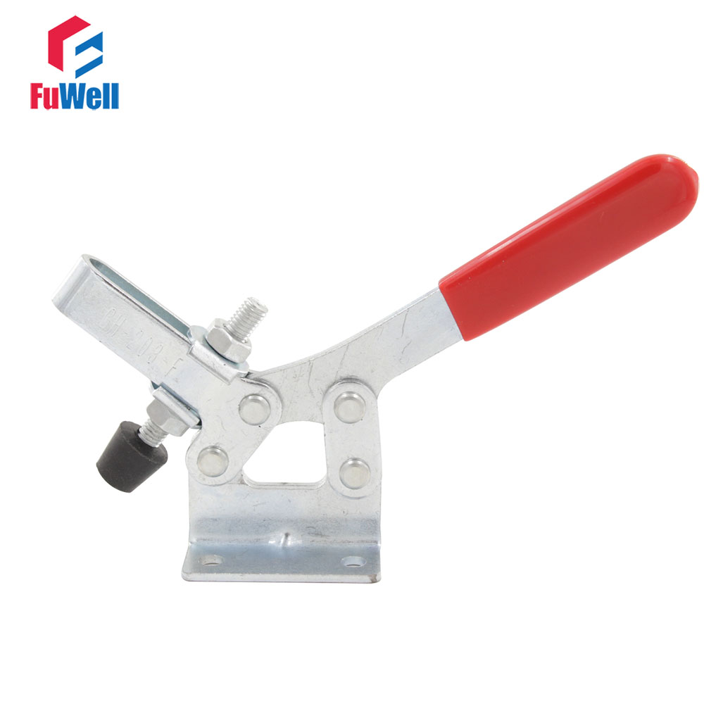 Red Handle GH-203-F Quick Release Toggle Clamp Push Pull 227KG Holding Capacity Toggle Clamping on Big Sales gh 12130 227kg capacity hand tool toggle clamp metal flanged base straight handle toggle clamping latch