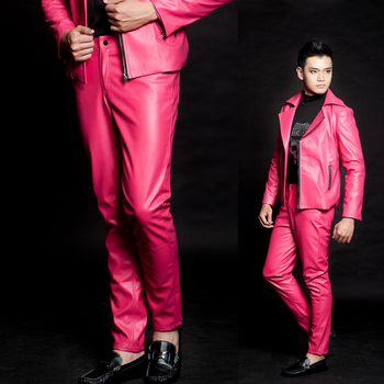 27-43!!! 2018 Male Tide male punk Pink nightclub leisure leather pants Loading stage costumes