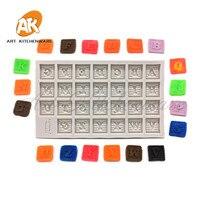 Bloque carta molde de silicona molde chocolate Cupcake en forma de bloque DIY rectangular pastel de hornear herramienta