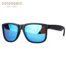 COLOSSEIN BLUE LABEL Fashion Formal Sunglasses Men Square Black Frame Polarize Glasses Male Fishing Driving Style Eyewear