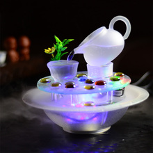 Glass desktop decoration small fountain water features lucky feng shui wheel decoration crafts
