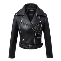 2018 free shipping fashion Women Autumn and winter New suit collar ladies leather coat motorcycle jacket PU leather coat women