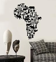 Виниловая настенная аппликация, Африканский континенент, животные, карта, природная настенная художественная наклейка, украшение для гостиной, спальни, дома, 2DT5
