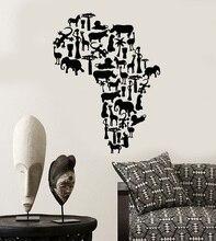 Parede de vinil apliques áfrica continente animal mapa natural mural arte adesivo sala estar quarto decoração casa 2dt5
