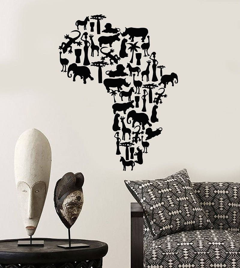 Vinyl wall applique Africa continent animal map natural mural art sticker living room bedroom home decoration 2DT5-in Wall Stickers from Home & Garden
