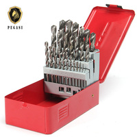 PEGASI High Quality 25Pcs 1 13mm Twist Drill Bit Set HSS High Speed Steel Wood Drilling Kit Metal Metric Power Tool