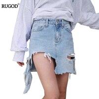 Denim Skirt Overalls Plus Size Hot Sale Streetwear Summer Fashional Mini Asymmetrical Hole Denim Skirts Jeans