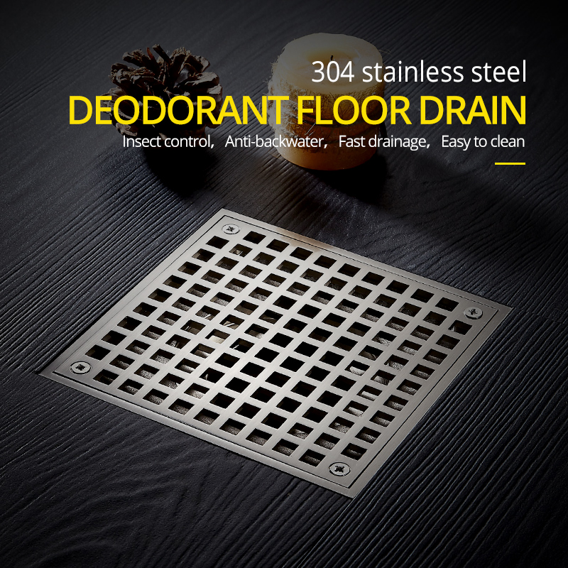Drains 10*10cm Square Stainless Steel Bathroom Kitchen Floor Drain Cover Strainer Deodorant Linear Drain Grate Waste WF 811539SN