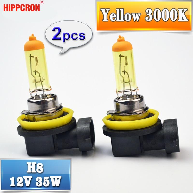 все цены на hippcron H8 Halogen Bulb Yellow 12V 35W 2 PCS 3000K PGJ19-1 Quartz Glass Car HeadLight Auto Halogen Lamp онлайн