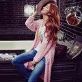 Оригинальный 2017 Бренд Свитер Пальто Весна Плюс Размер Мода Laidy Элегантный Розовый Длинный Вязаный Кардиган Женщин Wholesal