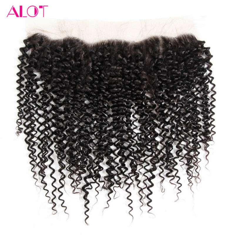 ALot Hair Ear to Ear Pre Plucked Brazilian Kinky Curly Lace Frontal Closure with Baby Hair 13x4 Non Remy Human Hair Closure