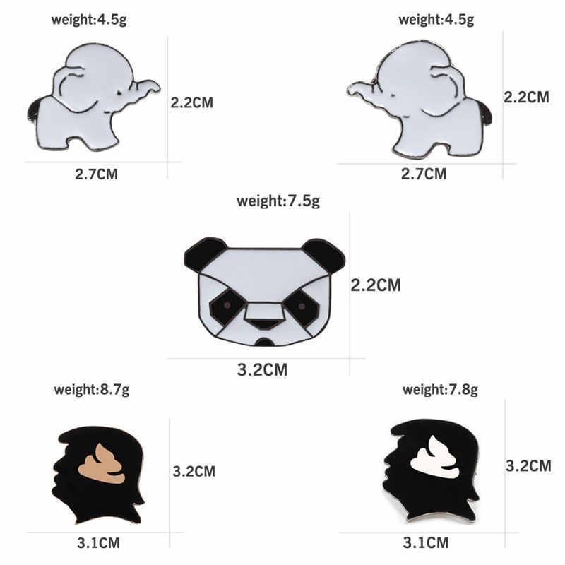 Leuke Cartoon Olifant Broches Vrouw Sieraden Mannen Revers Pin Trump Hoofd Panda Badge Zak Overhemd Accessoires Metalen Emaille Pins Geschenken
