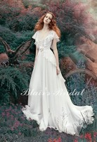 Fairy Forest V Neck And Cap Sleeve A Line High Waist Soft Bridal Gown Charming White